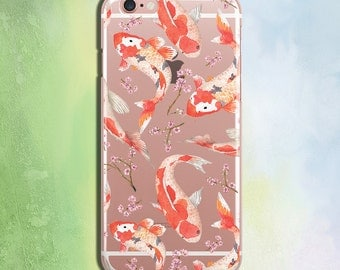 Iphone 6 6s 6plus case Flowers Phone Case Floral Phone Case Samsung Cover Clear phone Case Iphone 5 5s 5c Case Blossom Phone Case Fish Cover