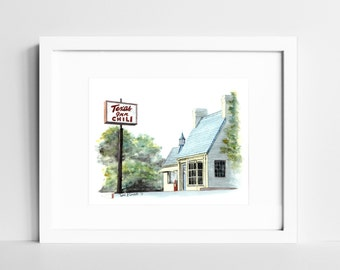 T-Room Watercolor Print | Texas Inn Wall Art | Lynchburg VA