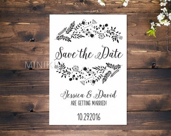 Floral Save The Date Cards, Printed Save The Date Cards, Personalised Save The Date Cards, Wedding Invitations, Personalised Wedding x 20