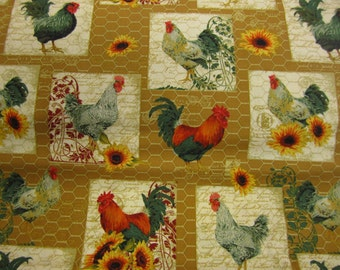 French Roosters fabric - good quilters quality 100% cotton sold per fat quarter