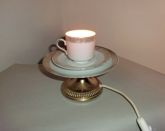 Teacup lamp night table lamp from a cup VINTAGE handmade UPCYCLE designer lamp table lamp night table lamp