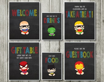 Baby super hero Table signs - Table signs - baby shower decor- baby super hero