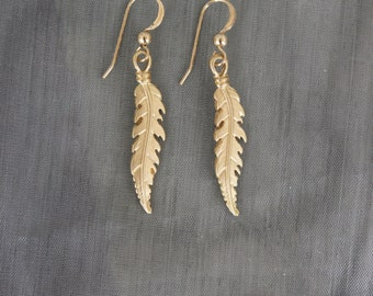 Feather Dangle earrings, gold feather dangles, gold earrings