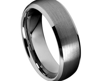 Flash Sale** Men's Tungsten Carbide Brushed Center Low Beveled Edge 8mm Wedding Band| Promise Ring | Anniversary Gift
