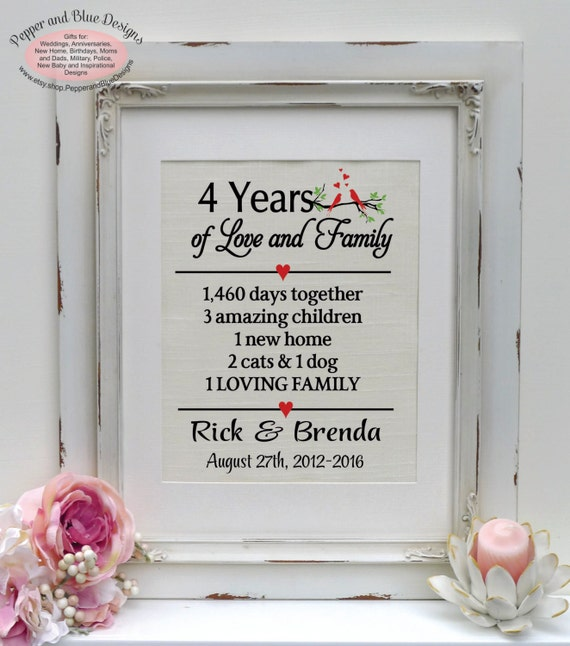 Unique 4th Wedding Anniversary Gifts: 4th Anniversary Gift Linen Print 4 Year By