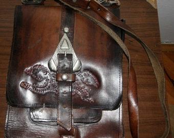 Old real leather vintage bag