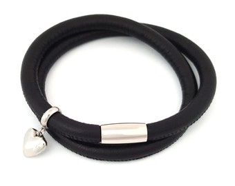 Leather Double Wrap in Black