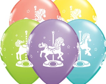 "10 x 11"" Carousel Horses Balloons in Pastel Colours by Qualatex Children's Birthday Party"