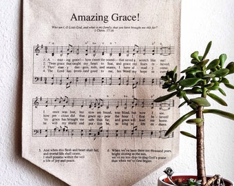 """Amazing Grace Hymn Banner - """"Amazing Grace Music Sheet Canvas - Grace Wall Art -"""