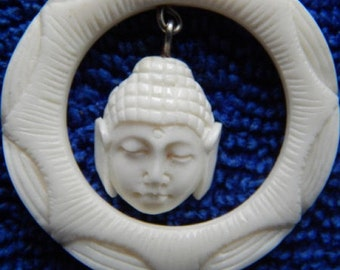 pendant bone carving buddhist
