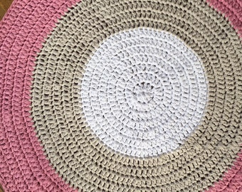 Floor Rug - Crochet - Nursery - Handmade - Home Decor - Custom Colours - Pink, White, Light Grey, FREE SHIPPING