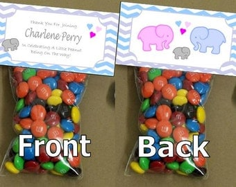 Baby Shower Elephant goody bags - bag toppers