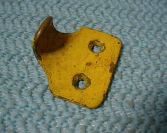 Shabby Sash Lift Hook Handle Window Brass Knob in Old Yellow Paint Antique Vintage Drawer Pull Edwardian Era