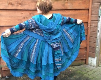 beautiful blue Katwise inspired up-cycled sweater coat