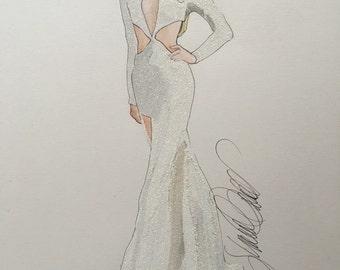 Paris Hilton fashion illustration