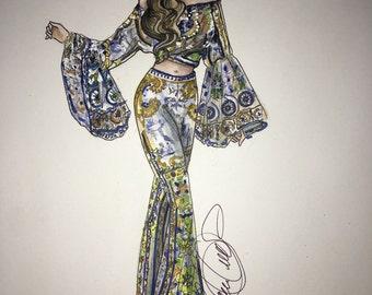 Nadene in Camilla fashion illustration