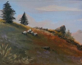 Paintings of sheep, Farm paintings, Paintings of hills, Sheep paintings, Good Sheep, Hill landscapes, Pasture scenes, Sheep grazing, Sheep
