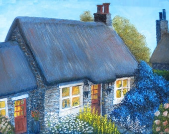 English cottage Paintings of cottages Thatched roof cottage English gardens Paintings of houses Paintings of English homes Country cottage