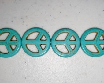 Blue howlite peace sign beads peace signs blue piece signs blue stone beads turquoise howlite