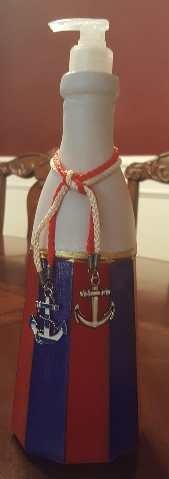 Heavy Red White Blue Glass Lighthouse Soap Lotion Dispenser
