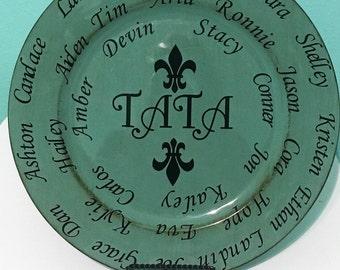 Family Charger Plate/Grandparent gift with Grandchildren/ Fleur- de -lis home decor/Keepsake gift/Parent gift with children