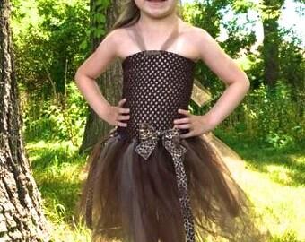 Girls Cheetah Print Tulle Tutu Dress Costume