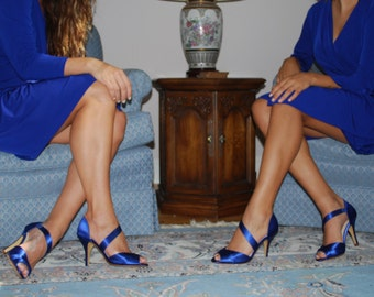 Royal Blue Wedding Shoes, Bridal Shoes, Strappy Bridal Shoes, Bridesmaids Shoes, Bridal Sandals, Custom Wedding Shoes, Bridal Party