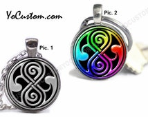 Doctor Who Seal Of Rassilon, 1-Sided Or 2-Sided Keychain Or Necklace, 25mm Picture Pendant, Custom Personalize Gift Her Him Women Men Friend
