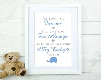 "Custom Canvas Print - ""I'll Love You Forever"" - Nursery Decor"