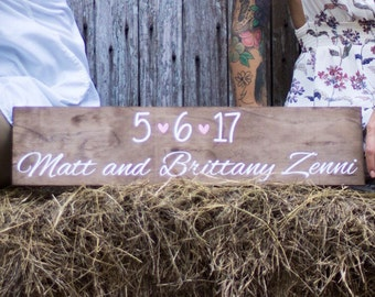 Date Sign with Names (for weddings, engagement shoots, home decor, etc.)