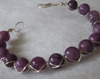 Purple Round Glass Beads Wrapped in Sterling Silver Wire Clasp Bracelet