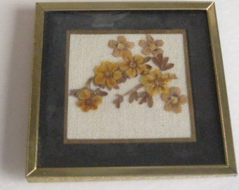 "Vintage Dried Flower Art 4 1/2"" x 4 1/2"" Framed"
