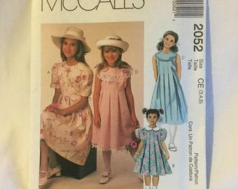 McCalls 2052 Girls Dress Patterns