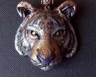 Tiger pendant, handmade, polymer clay