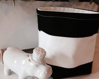 Small Black & White Fabric Bin