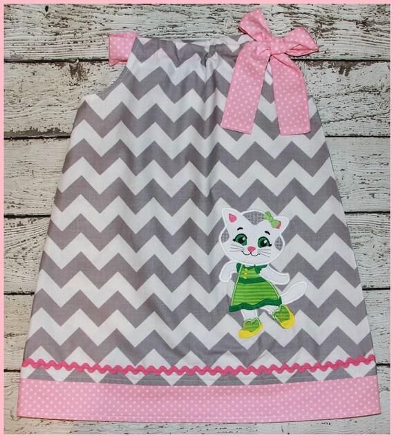 Super Cute Katerina Kitty Cat Pillowcase style dress Grey Chevron and pink polka dot