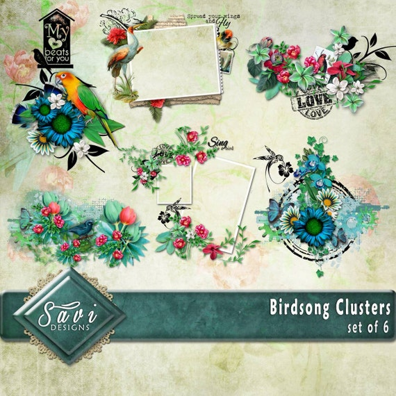 Digital Scrapbooking Clusters set of 6 BIRDSONG flowers foliage premade embellishment png clusters to make immediate scrap page