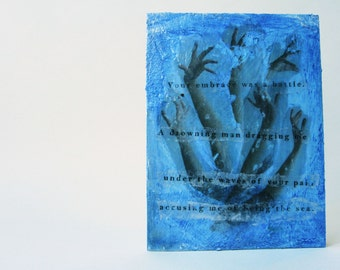 Releasing Demons - The Sea - Mixed Media Collage/Acrylic Gel Photographic Image Transfer