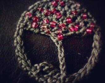 Crochet Tree of Life Pendants - Grey/Pink