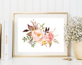 Flowers print pink peony watercolor print floral wall art print printable poster bedroom kitchen dorm room girl room decor nursery office