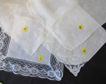 FREE US SHIPPING  Vintage Ladies Handkerchiefs Lace, Embroidery  313
