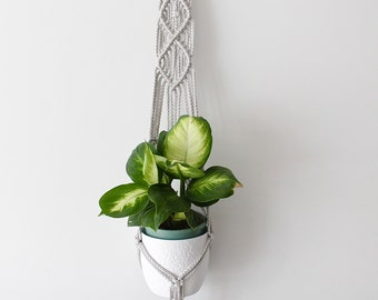 Shadow Grey Diamond Macrame Plant Hanger