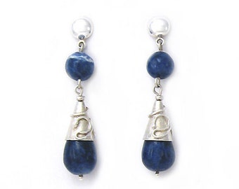 Solid Sterling Silver and blue stone drop earrings