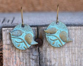 Rustic Lovebird Earrings | Shabby Chic Verdigris Lovebird Earrings | Gifts For Her Redd Molly Vintagerie | Rustic Bird Earrings