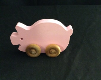 Push toys, set of push toys, toddler toys, wooden toys, handmade toys, pig, fish, chicken