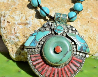 Amazing Tribal Handmade Necklace with Vintage Pendant