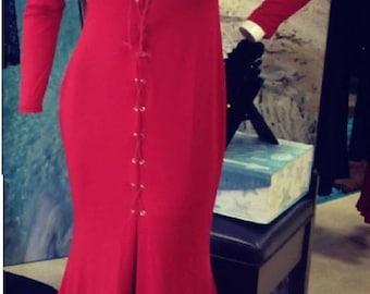 Red Velvet Maxi Dress