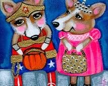 Welsh CORGI in Costume Trick or Treat Folk Art DOG PRINT, dog wall art, whimsical dog print, Halloween decor by Krista