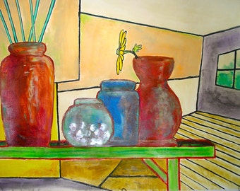 """Pottery on a Shelf Still life Whacky Whimsical Distorted Perspective Original Art Acrylic Painting 24x18"""" Red, Green, Orange, blue."""