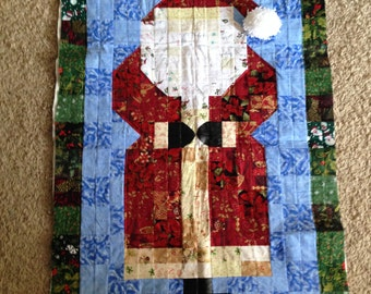 Watercolor Santa quilt